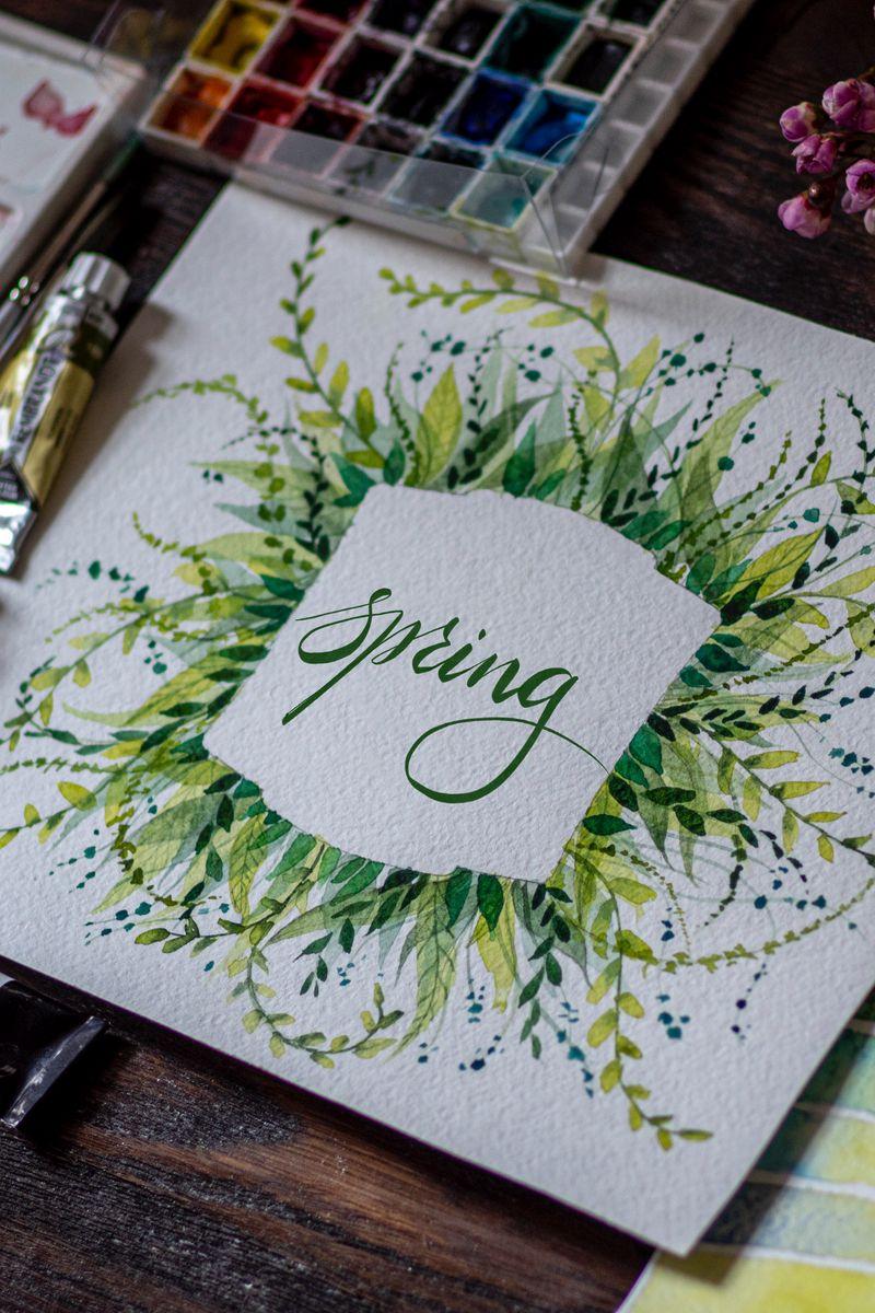 800x1200 Обои весна, слово, леттеринг, краски, акварель