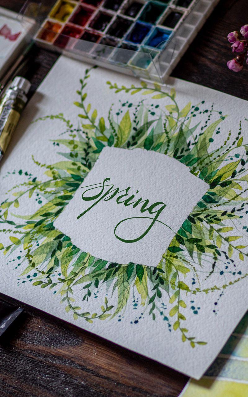 800x1280 Обои весна, слово, леттеринг, краски, акварель