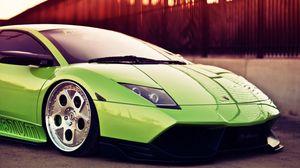 Превью обои вид сбоку, зеленый, авто, ламборджини