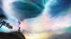 Превью обои вихрь, магия, арт, холмы, небо