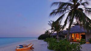Превью обои вилла, романтика, побережье, пальмы, вечер, свет