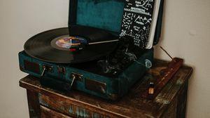 Превью обои виниловый проигрыватель, пластинка, музыка, ретро