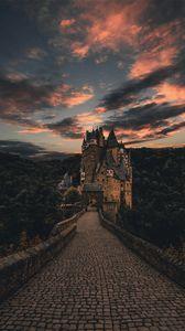 Превью обои виршем, германия, замок, тропа, вечер, небо