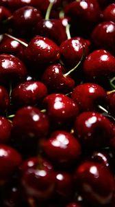 Превью обои вишни, ягоды, красный, мокрый, спелый, макро