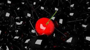 Превью обои вишня, ягода, 3д, красный, черный