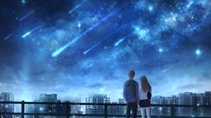 Превью обои влюбленные, звездопад, звездное небо