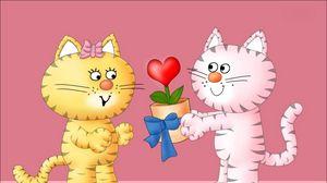 Превью обои влюбленные, подарок, котики