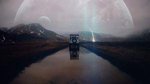Превью обои внедорожник, горы, вода, пейзаж, инопланетный, путешестве, метеорит, отражение, фотошоп