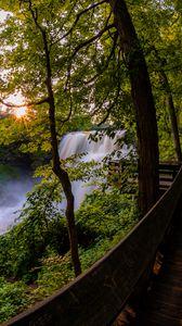 Превью обои водопад, деревья, мост, природа, пейзаж