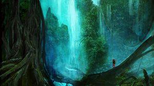 Превью обои водопад, лес, деревья, силуэт, арт