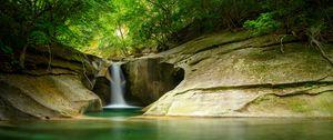 Превью обои водопад, обрыв, каменный, вода, деревья, лес
