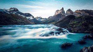 Превью обои водопад, озеро, скалы, торрес-дель-пайне, национальный парк, чили