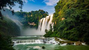 Превью обои водопад, река, обрыв, деревья, течение, вода