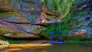 Превью обои водопад, река, разноцветный, камни