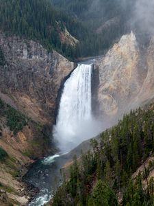 Превью обои водопад, скалы, каньон, деревья, природа, вид сверху
