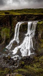 Превью обои водопад, скалы, природа, пейзаж, вид сверху