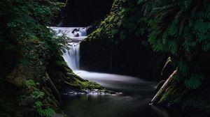 Превью обои водопад, трава, темный, природа