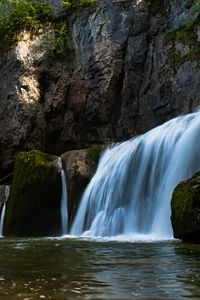 Превью обои водопад, вода, скалы, камни, природа