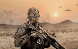 Превью обои военный, солдат, маска, винтовка, пустыня