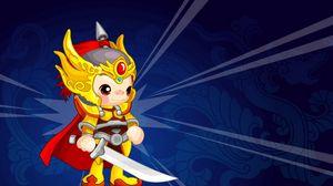 Превью обои воин, костюм, красочный, фон, меч