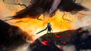 Превью обои воин, рыцарь, меч, фэнтези, арт
