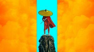 Превью обои воин, шляпа, меч, sci-fi, арт