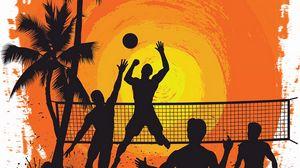 Превью обои волейбол, силуэты, солнце, пальмы, арт