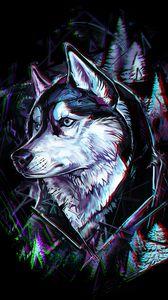 Превью обои волк, арт, глитч, голова, деревья, линии