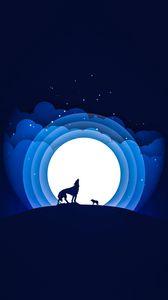 Превью обои волк, луна, вой, вектор