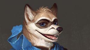 Превью обои волк, оборотень, арт, милый, улыбка