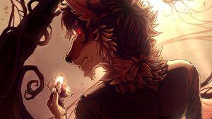 Превью обои волк, оборотень, фотография, арт