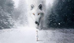 Превью обои волк, ребенок, фотошоп, белый, снег, туман