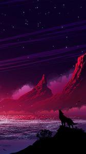 Превью обои волк, силуэт, холмы, горы, одиночество