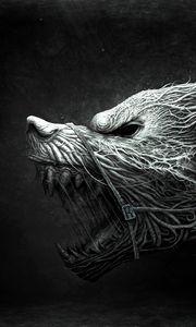 Превью обои волк, зубы, рисунок, агрессия, черный, белый