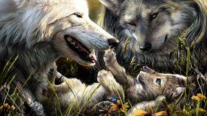 Превью обои волки, семья, рождение, любовь, малыш