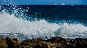 Превью обои волна, прибой, пена, брызги