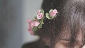 Превью обои волосы, цветы, украшения