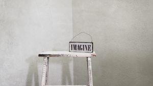 Превью обои воображение, слово, надпись, стул, белый