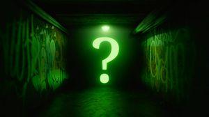 Превью обои вопрос, знак, знак вопроса, неон, свечение, темный