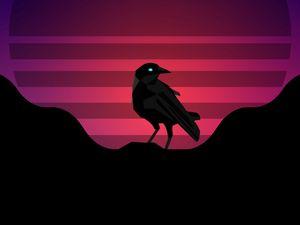 Превью обои ворон, птица, солнце, вектор, арт