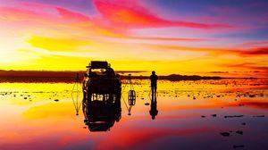 Превью обои восход, фотограф, автомобиль, горизонт