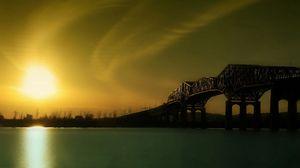 Превью обои восход, мост, река, конструкция, утро