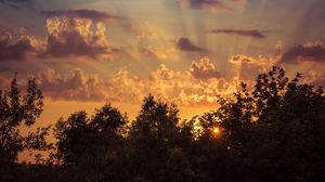 Превью обои восход, небо, деревья, облака