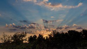 Превью обои восход, рассвет, облака, деревья