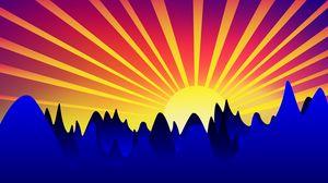 Превью обои восход, арт, горы, вектор