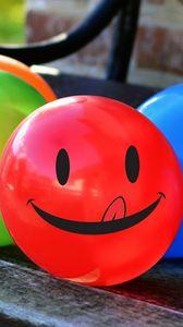 Превью обои воздушные шарики, улыбка, смайлик, разноцветный
