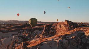 Превью обои воздушные шары, аэростаты, горы, полет, турция