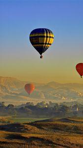 Превью обои воздушные шары, небо, холмы