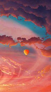 Превью обои воздушный шар, аэростат, арт, облака, небо, полет