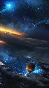 Превью обои воздушный шар, аэростат, космос, небо, арт